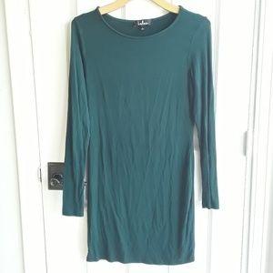 Lulu's Forest Green Long Sleeve Jersey Knit Dress